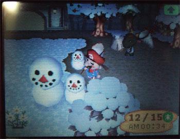 雪だるま3人